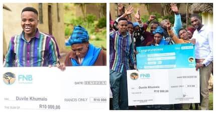 Maskandi artist Khuzani blessed late musician Mgqumeni Khumalo's gogo with R10k