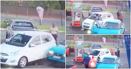 Driver bumps into another car at petrol station and causes a fight