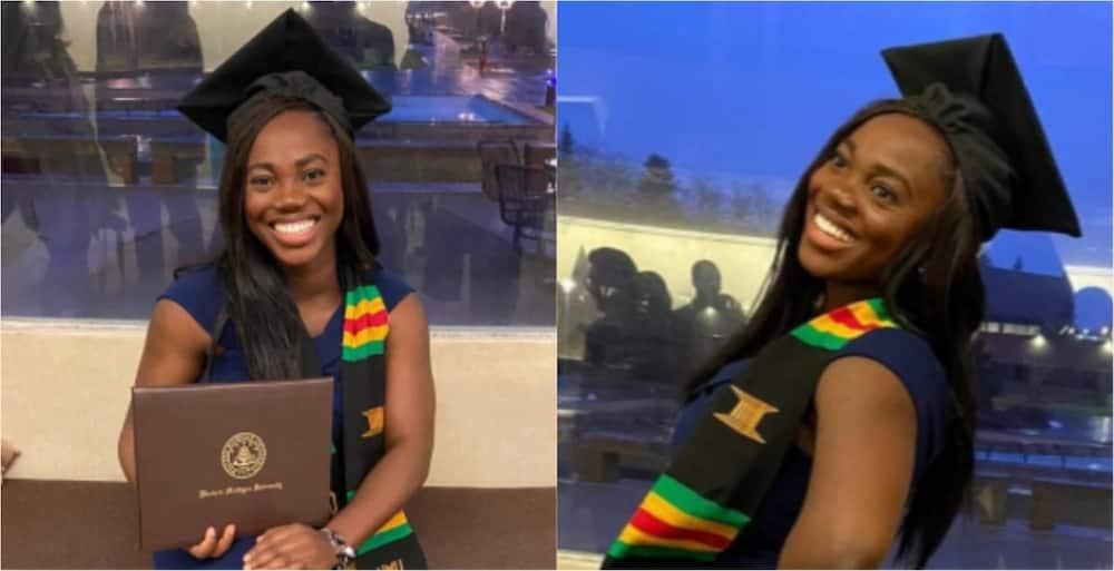PHOTOS: Massive joy as brilliant Ghanaian lady graduates with master's degree in Applied Economics