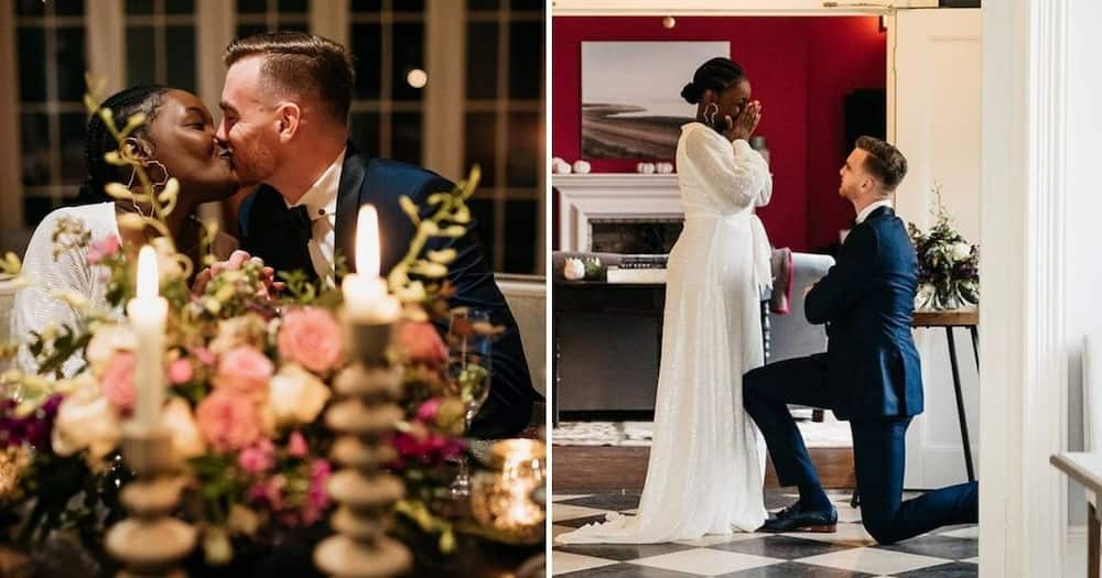 South Africans are falling in love with images of Rowan Adams who just proposed to his fiancee. Image: @rowancba/Twitter