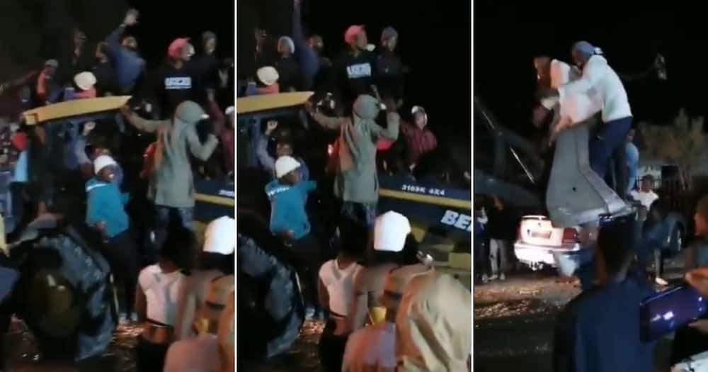 Video of kasi party on construction vehicle has Mzansi speechless