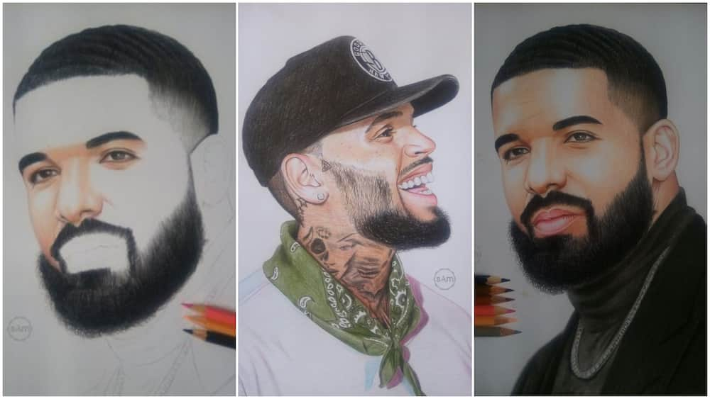 Much talented young man draws Drake and Chris Brown with pencils