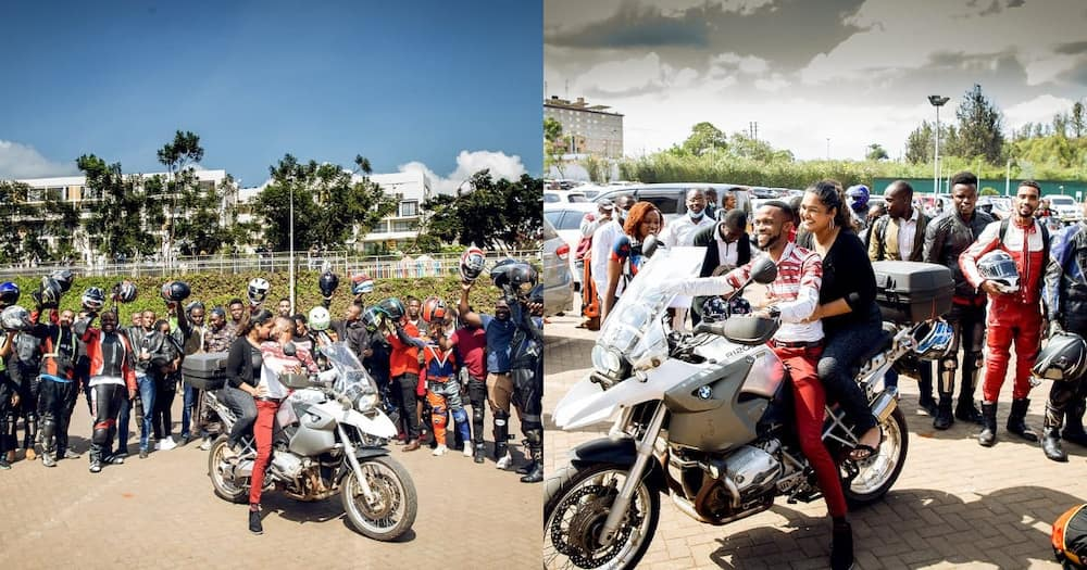 Nduthi gang: Lovestruck man stops business at Garden City to propose to lover using numerous motorbikes