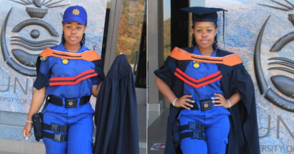 Cop, Police Officer, stunning, degree, university, celebrate, social media reactions