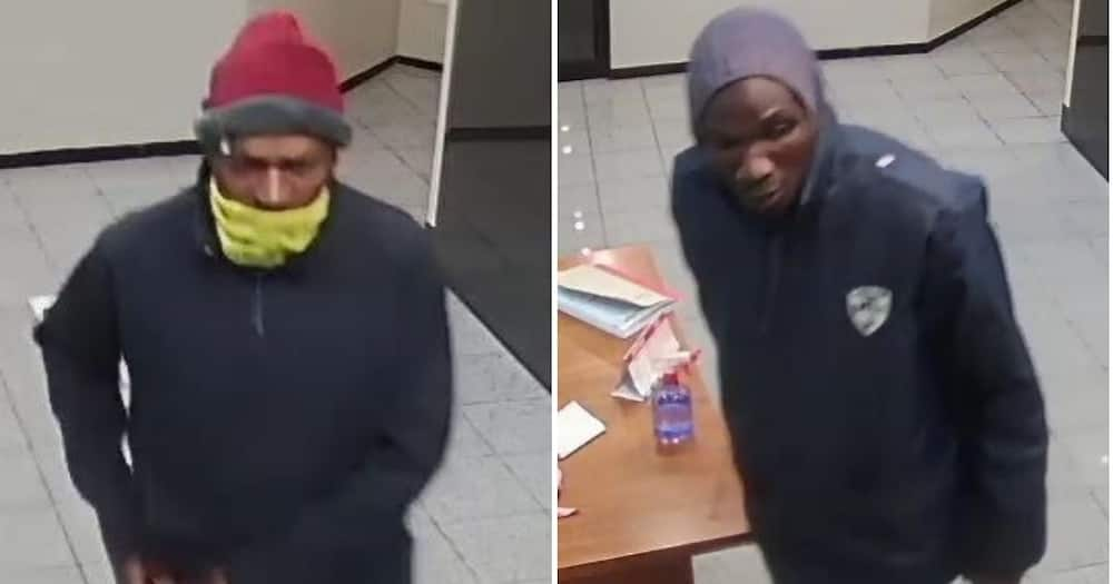 South African Police have released images of two suspects who broke into the Zondo Commission. Image: Twitter