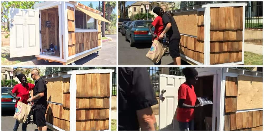 Joy as man builds fine tiny house on wheels for 60-year-old woman who sleeps by the roadside