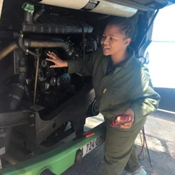 Maria Dumekude rose from being a cleaner to a mechanic in a male-dominated industry. Source: News24/Tammy Petersen