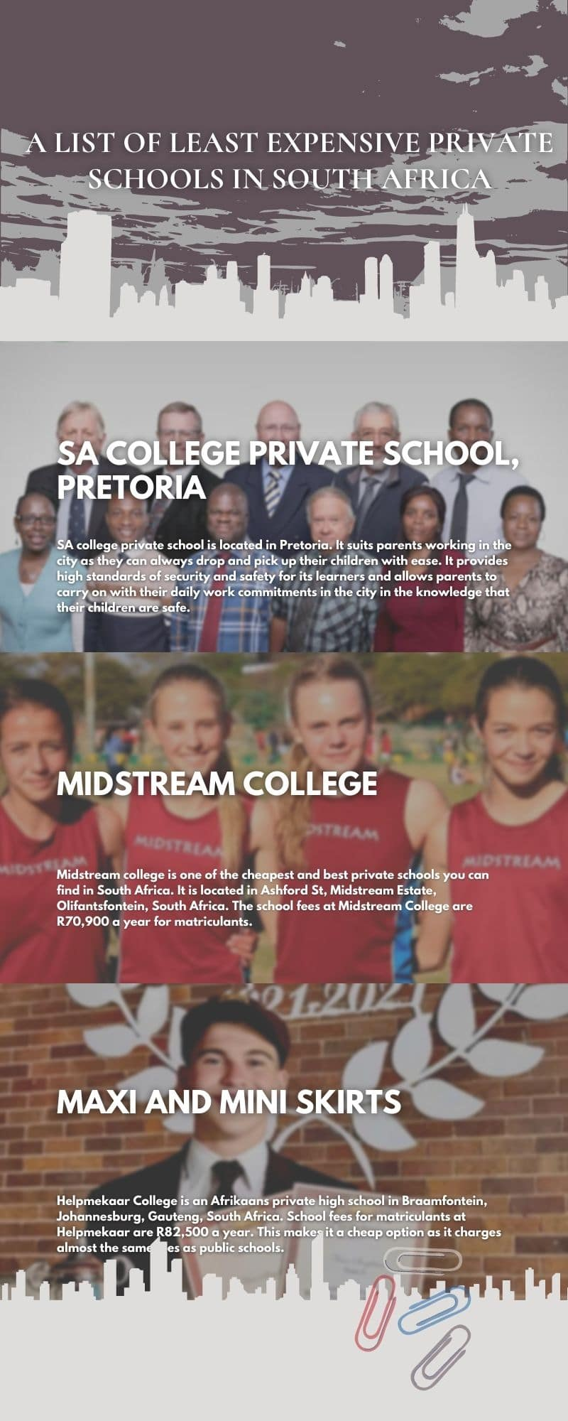 least expensive private schools in South Africa and their fees