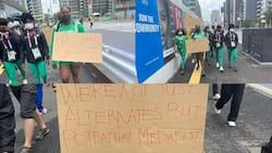 Confusion as Nigerian athletes storm the streets of Tokyo to protest their disqualification from Olympics