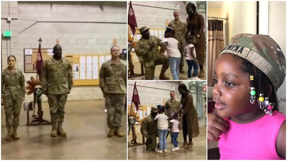 Viral video shoes emotional moment Nigerian man gets promotion in US Army as his little daughter decorates him