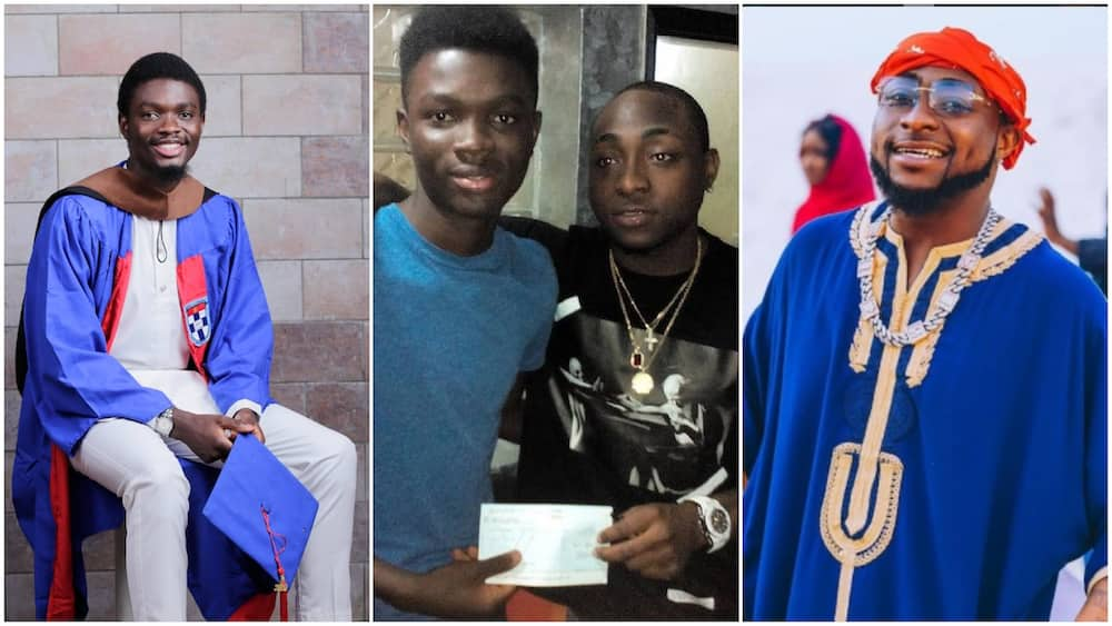 Young Nigerian man who Davido sponsored in university finally graduated, bagged first class, musician reacts