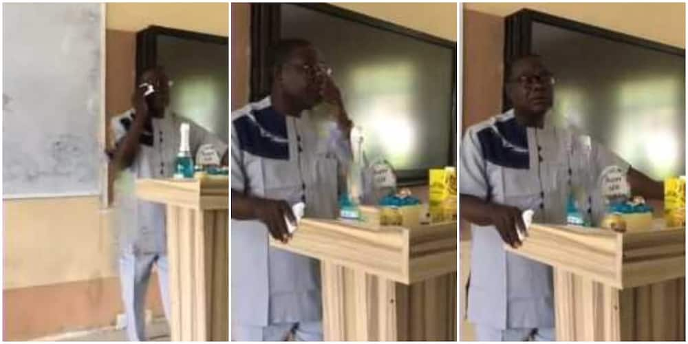 Video shows moment Nigerian lecturer wiped tears from his eyes after students stun him gits on 60th birthday