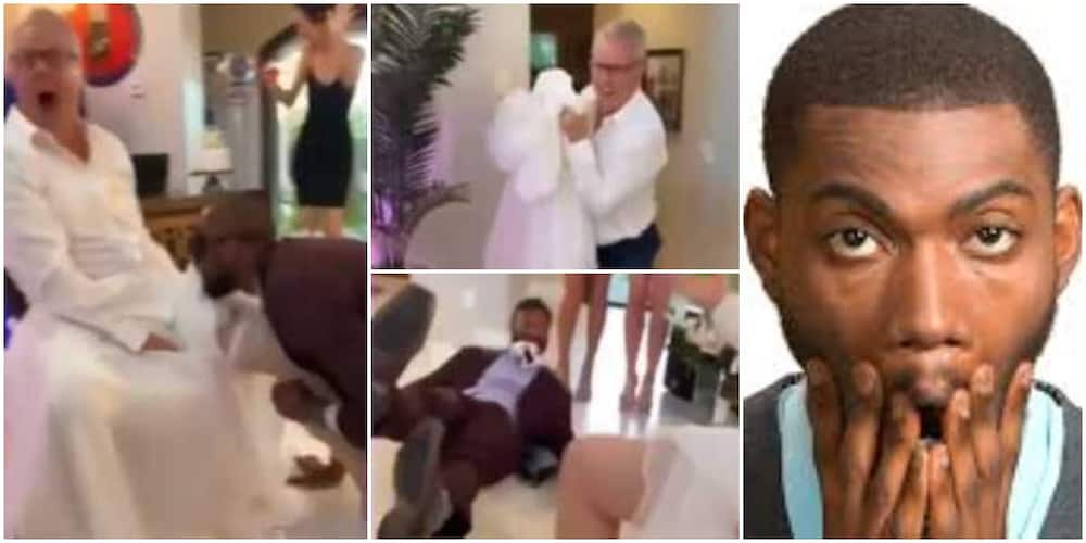 Reactions as man wears daughter's gown to pull prank on her hubby, video goes viral