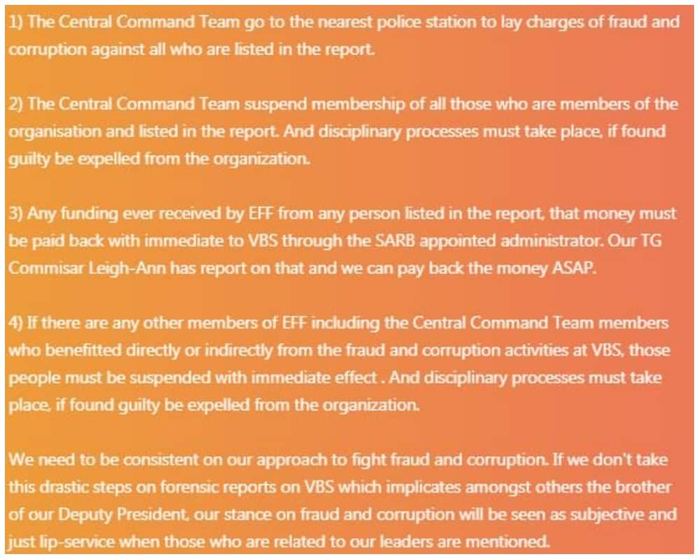 Is the letter in which EFF members take on Malema about VBS for real?