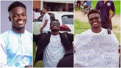 Nigerian man finishes university, carries placard to thank his parents, photos stir reactions