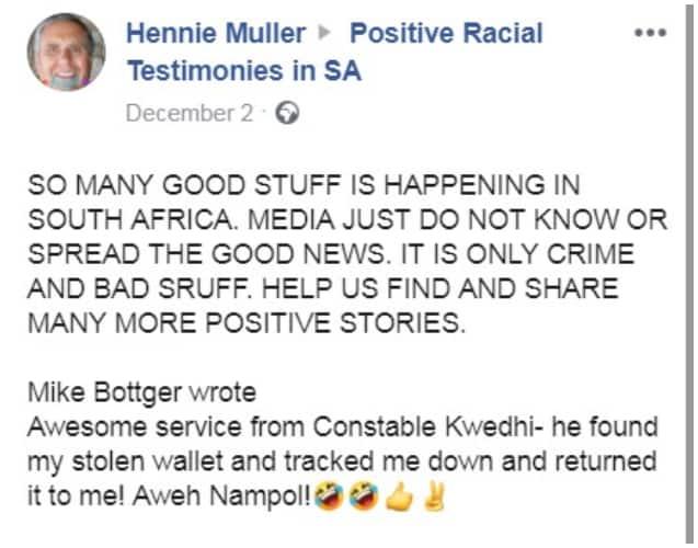 Positive testimonies SA with a twist - Cop traces man, returns wallet