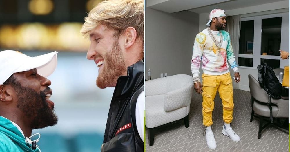 Floyd Mayweather was involved in a heated war of words with his next opponent, Logan Paul. Image: LoganPaul/FloydMayweather/Instagram