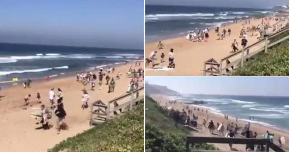 Coronavirus: Video shows Durban beachgoers running from police