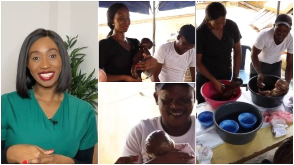 Lady organises class for Nigerian men, teaches them how to bathe babies, change pampers, video goes viral
