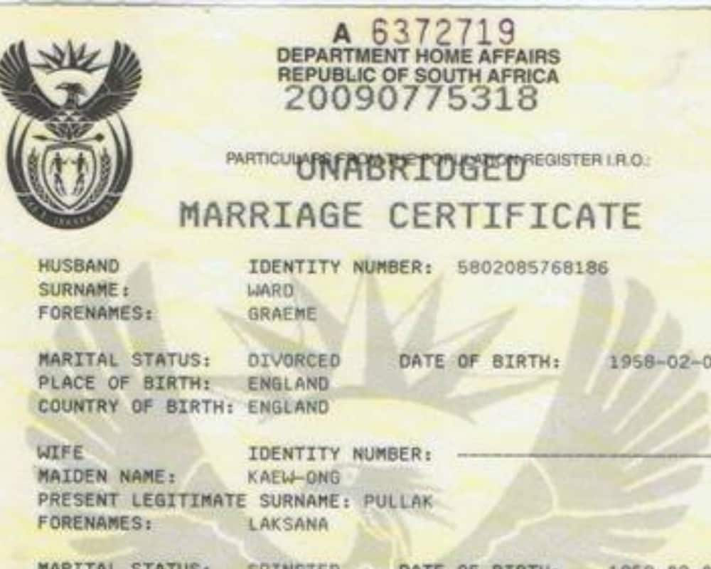 Online marital status check South Africa 2020