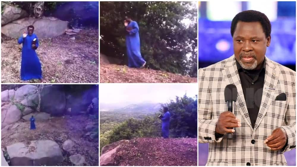 Snapshot of his time on the mountain and his picture. Photos sources: Twitter/TB Joshua/Guardian
