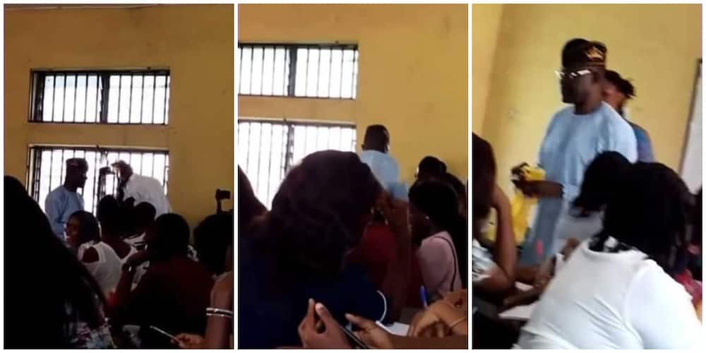 Nigerian Lecturer Distributes Boiled Corn to His Students During Lecture, Video Goes Viral