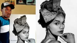 """""""You're talented"""": Young artist stuns Mzansi with amazing pencil drawing of Pearl Thusi"""