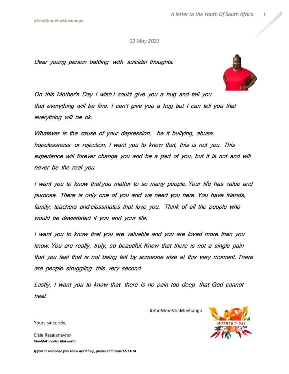 Muvhango mothers write letters to the youth in commemoration of Mother's Day