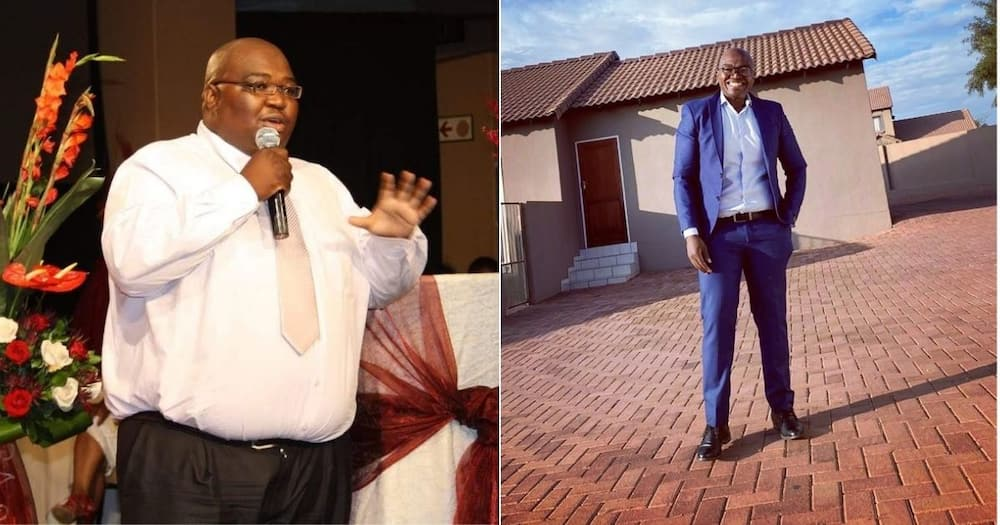 Mzansi is reacting to a man who has lost weight in the past 10 years. Image: @PMMukheli/Twitter