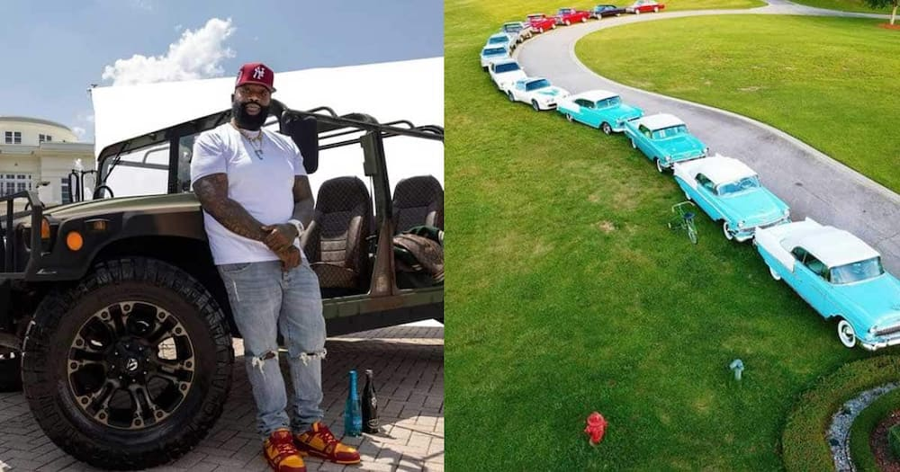 Rick Ross, driver's licence, 45 years old, 100 cars