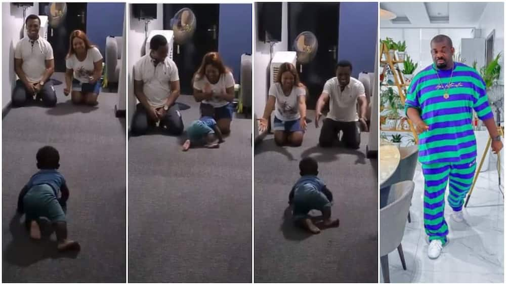 Funny moment baby chooses mum over dad in viral video as he crawls to her, Don Jazzy reacts
