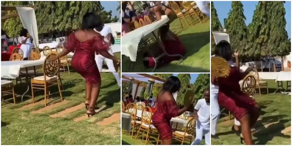 Reactions as lady on heels crashes to ground while dancing, fires dance as she gets back up