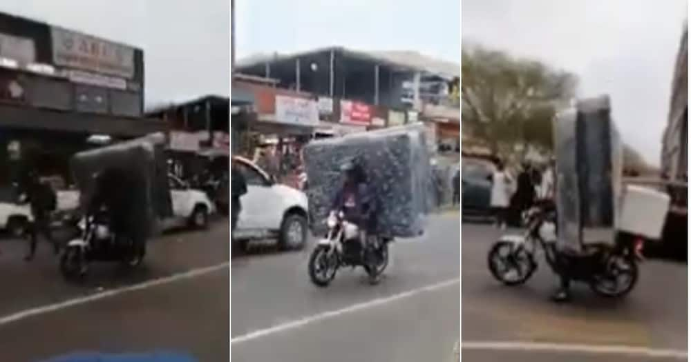 Mzansi, Wowed, Video, Man, Motorcycle, Delivering Beds and Pizza