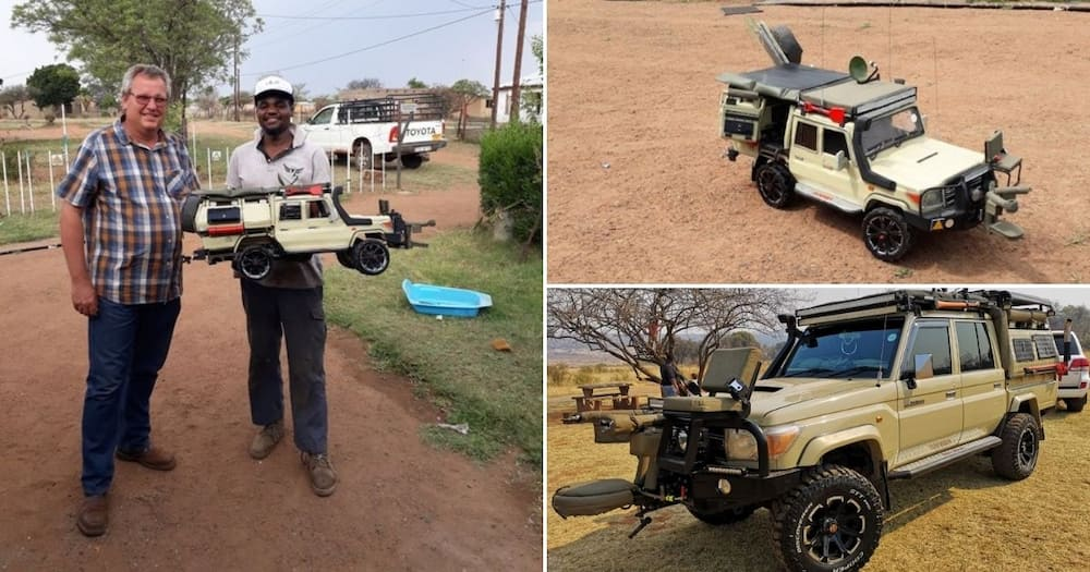 Artist shows off mini bakkie replica he made, SA wowed by his talent
