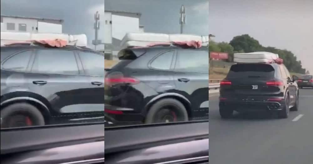 Mzansi left in stitches as Porsche carries mattress on roof