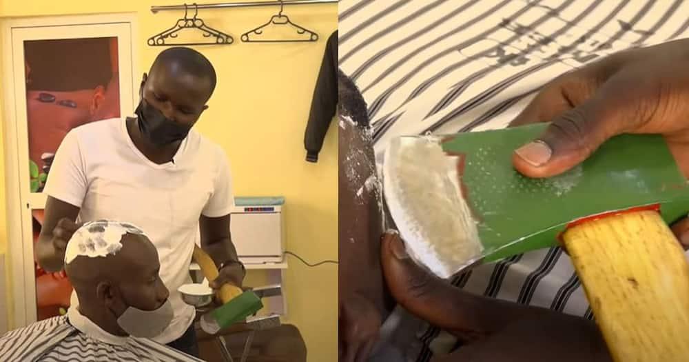 Julius Mwangi shaving a client with an axe.