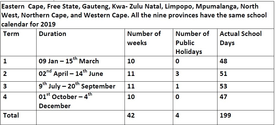 South african public holidays 2019