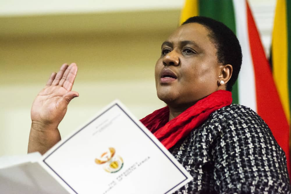 Thoko Didiza, the agriculture and land reform minister, speaks during a swearing-in ceremony in Pretoria, South Africa, on Thursday, May 30, 2019. Photographer: Waldo Swiegers/Bloomberg via Getty Images