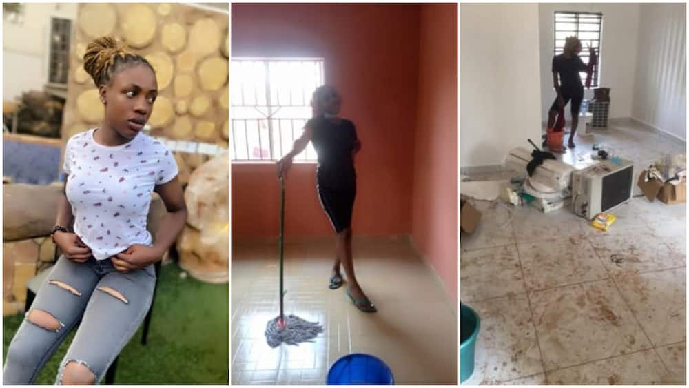 Nigerian lady who is a cleaner showcases her hustle without shame