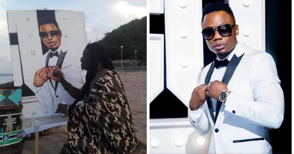Social media users in Mzansi are reacting to Rasta's latest painting on Dj Tira. Image: @AdvoBarryRoux/Twitter