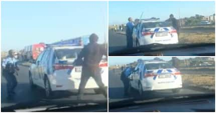 SA in stitches over video of cops throwing stones in traffic confrontation