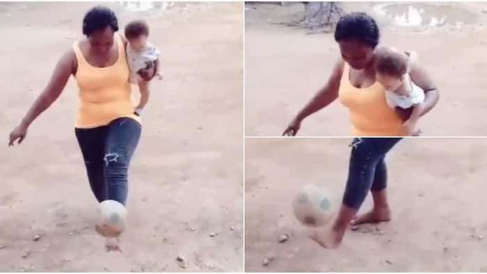 Woman wows many as she juggles ball while carrying baby, adorable video warms hearts