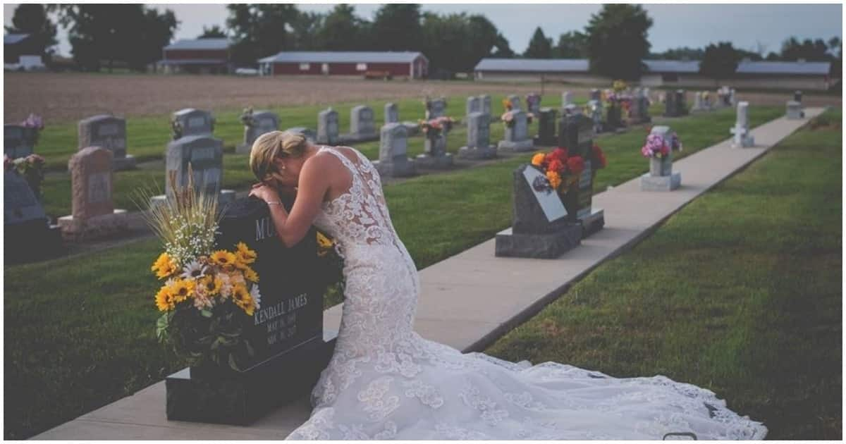 Bride visits late fiancé's grave on would have been their wedding day