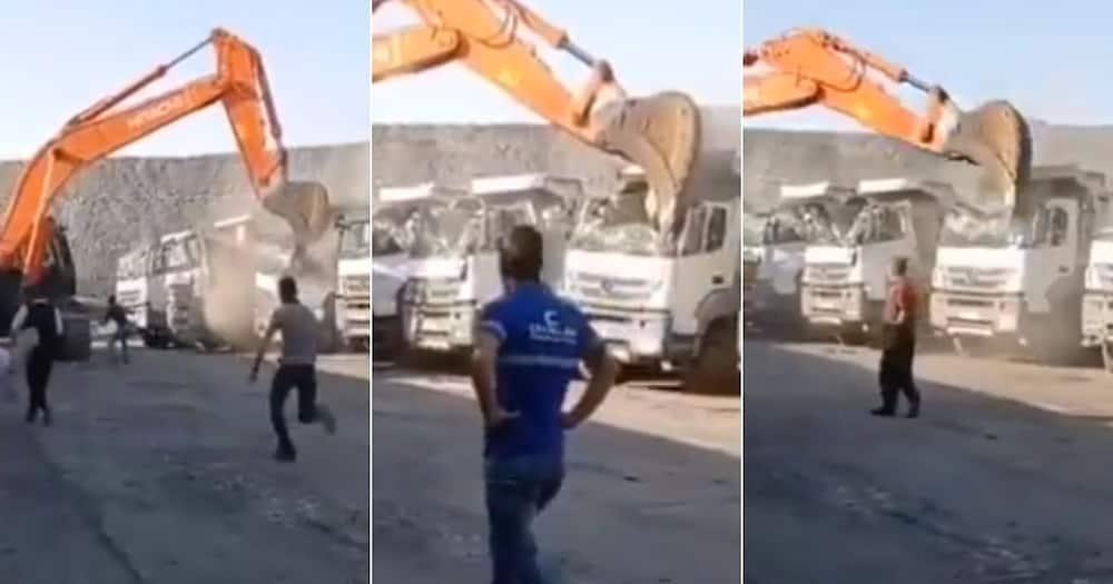 Man, Destroys, Fleet,Trucks, Video, Fired, SA