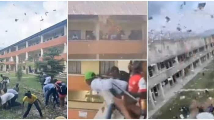 Cash rains as young man sprays money on federal university students from school balcony, video goes viral
