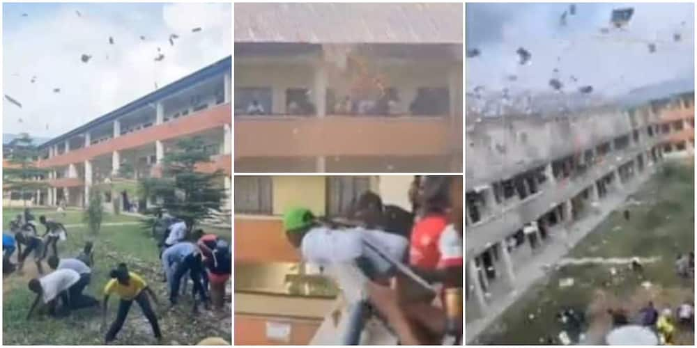 Reactions as man makes it rain from university building balcony, students struggle to pick the flying notes in video