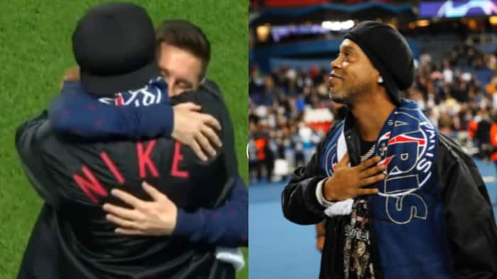 Ronaldinho makes return to PSG, shares warm moment with ex team mate Lionel Messi