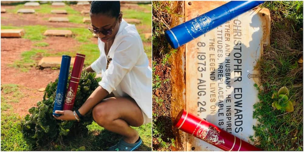 Lady presents 2 degrees she bagged to her late father at his grave