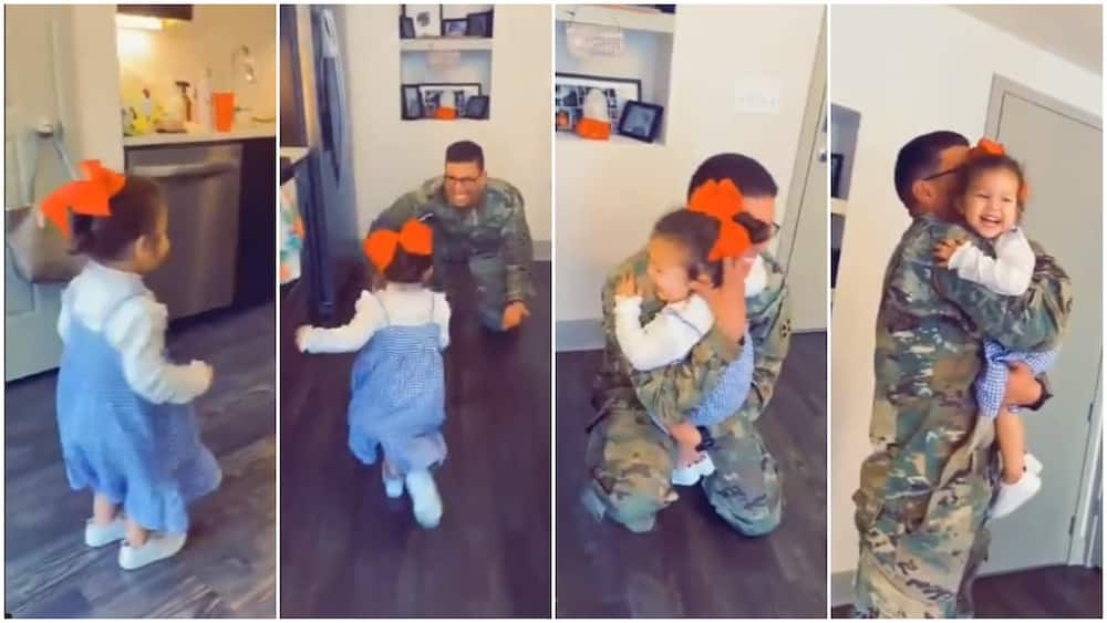 Viral video captures priceless reaction of baby when soldier father came home after 7 months