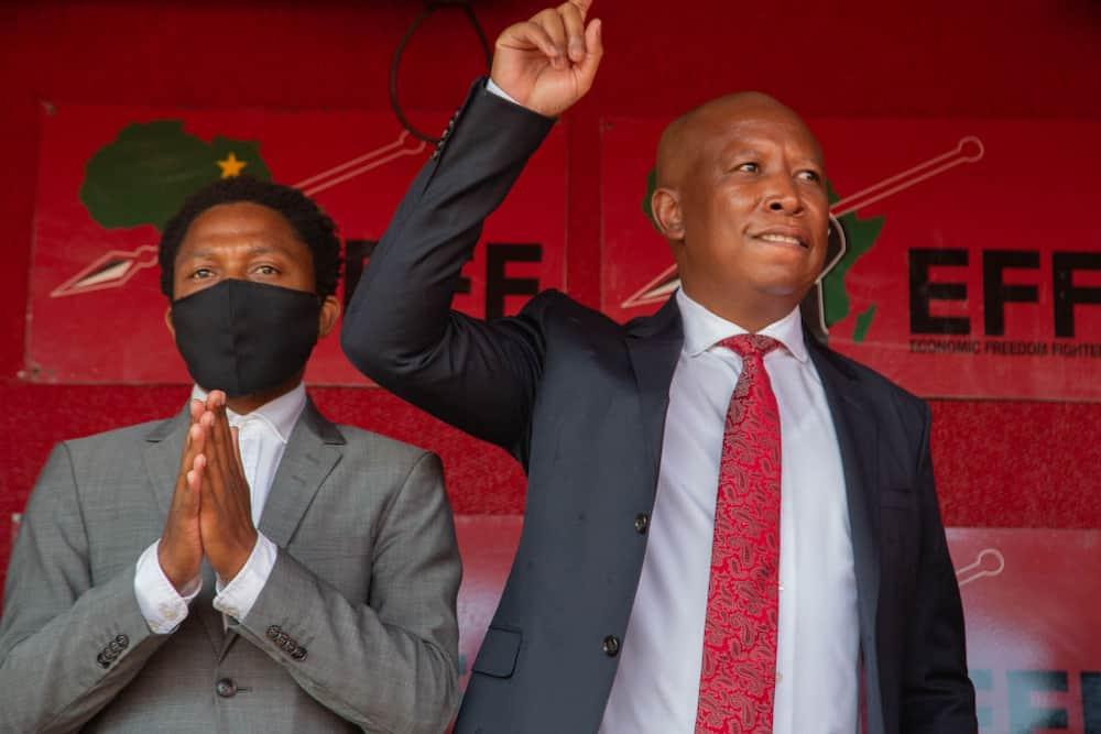 Julius Malema and the party's MP Mbuyiseni Ndlozi leave the Randburg magistrate court in October 2020. Image: Thabo Jaiyesimi/ SOPA Images/ LightRocket